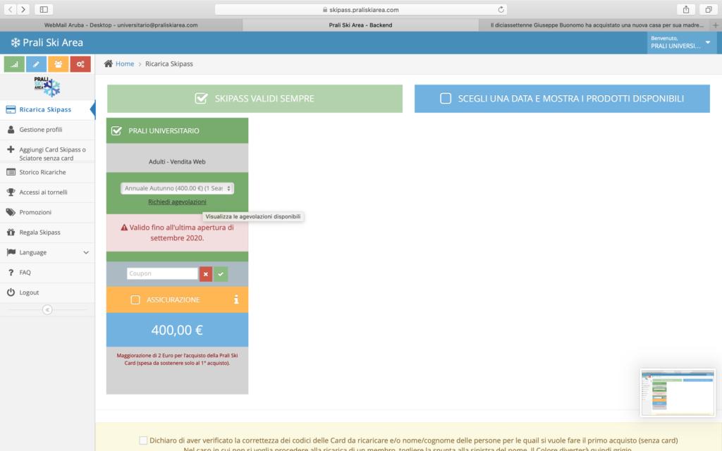 homepage utente